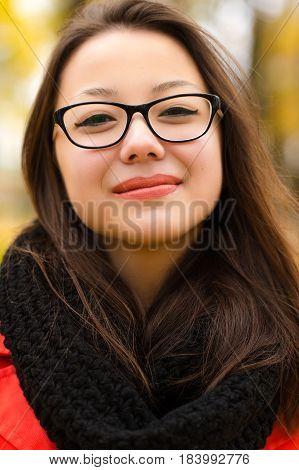Korean girl smiling in glasses close up