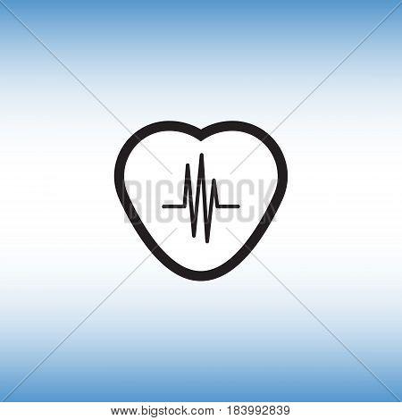 Heart monitor flat vector icon. Pulse monitor isolated vector illustration. Heartbeat vector symbol.