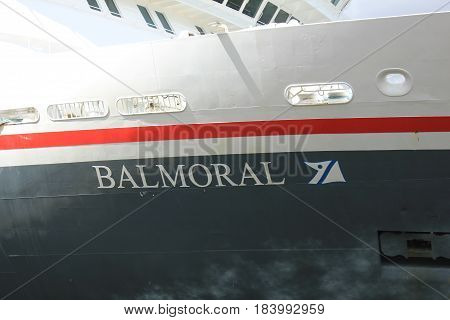 Amsterdam The Netherlands - April 27th 2017: Balmoral Fred Olsen Cruise Lines detail of bow