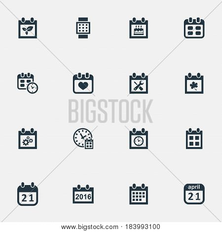 Vector Illustration Set Of Simple Date Icons. Elements Heart, Renovation Tools, Date Block And Other Synonyms Hour, Birthday And Almanac.