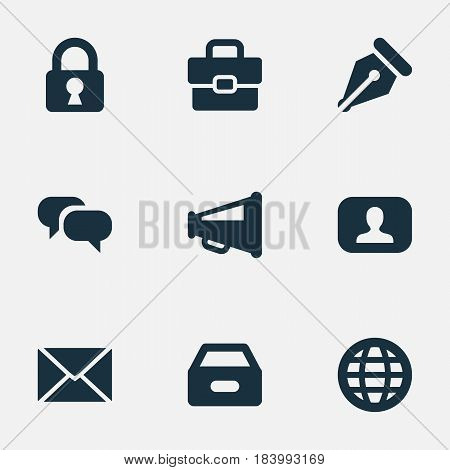 Vector Illustration Set Of Simple Trade Icons. Elements Representative, Nib, Padlock And Other Synonyms Net, Dossier And Web.