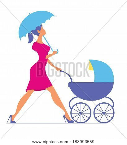 Nanny. Woman walking with a baby carriage. Vector silhouette.