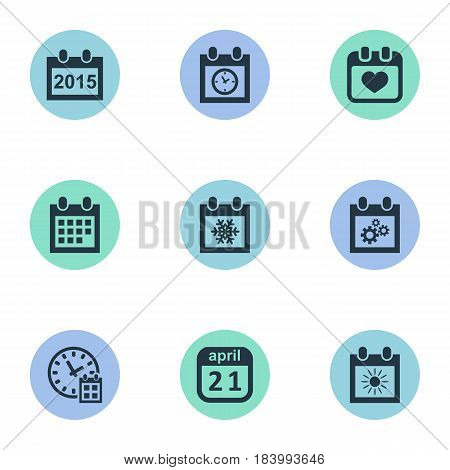Vector Illustration Set Of Simple Time Icons. Elements Annual, Almanac, Planner And Other Synonyms Agenda, Gear And Almanac.