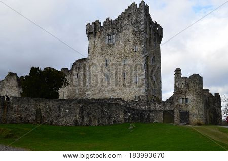 Gorgeous look at stone Ross Castle in Killarney Ireland.