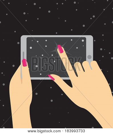 Hand holing smartphone, touching screen. Hand of woman hold tablet and pointing on screen