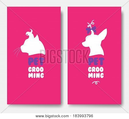 Business cards templates of grooming service pet with cat silhouette and chihuahua silhouette on pink background