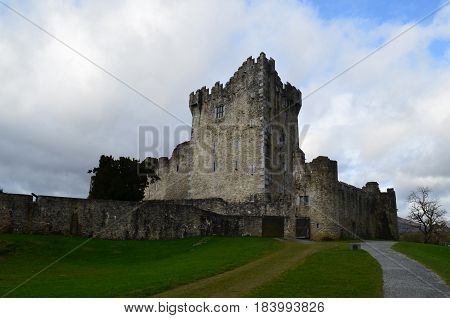 Ross Castle located in Killarney National Park in Ireland.