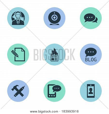 Vector Illustration Set Of Simple Blogging Icons. Elements Profile, Broadcast, Gazette And Other Synonyms Blog, Hammer And Site.
