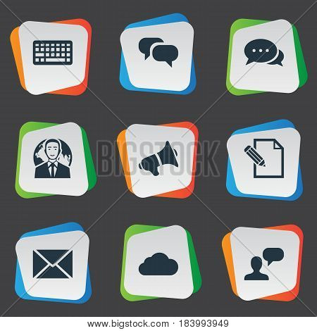 Vector Illustration Set Of Simple Newspaper Icons. Elements Loudspeaker, Overcast, International Businessman And Other Synonyms Keypad, Speaker And Sky.