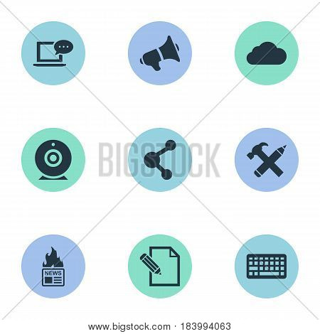 Vector Illustration Set Of Simple Blogging Icons. Elements Overcast, Share, Repair And Other Synonyms Loudspeaker, Laptop And Pen.