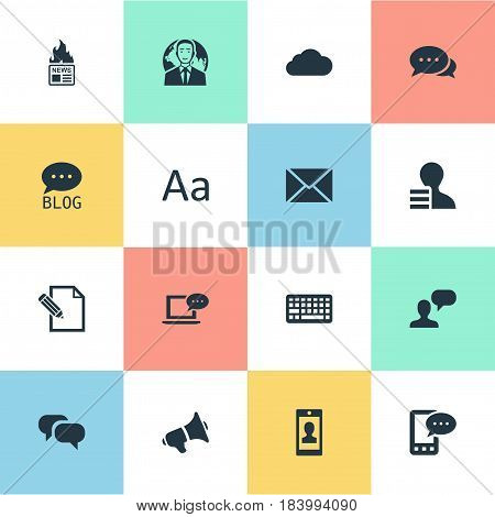 Vector Illustration Set Of Simple Blogging Icons. Elements Site, International Businessman, Gain And Other Synonyms Cloud, Considering And Profile.