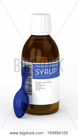 3D Render Of Syrup With Spoon Isolated Over White