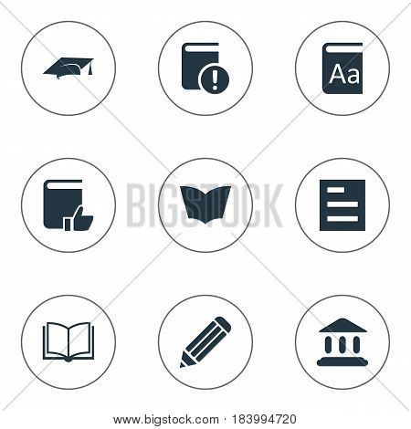 Vector Illustration Set Of Simple Reading Icons. Elements Reading, Academic Cap, Pen And Other Synonyms Page, School And Cap.