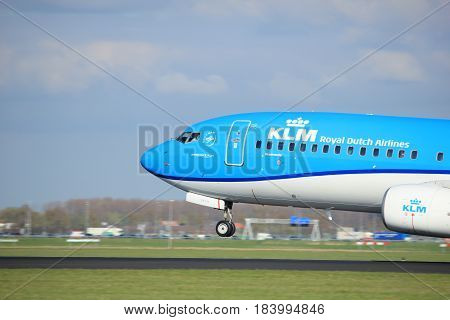 Amsterdam the Netherlands - April 7th 2017: PH-BGB KLM Royal Dutch Airlines Boeing 737-800 takeoff from Polderbaan runway Amsterdam Airport Schiphol