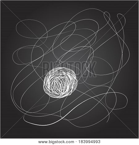 Drawing of a string of threads for knitting on a chalkboard.