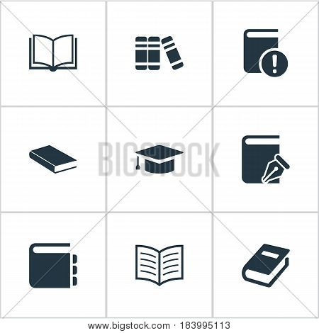 Vector Illustration Set Of Simple Reading Icons. Elements Sketchbook, Blank Notebook, Important Reading And Other Synonyms Notebook, Reading And Graduation.