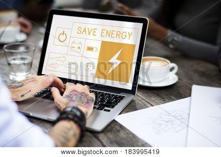 Illustration of energy saving sustainability power generation on laptop