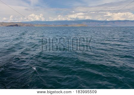 Beautiful views of Lake Baikal coming off the island of Olkhon in summer