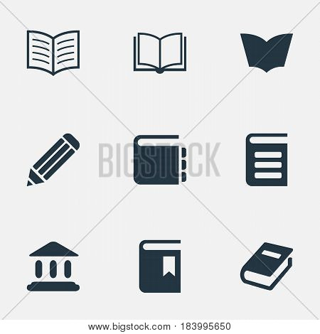 Vector Illustration Set Of Simple Reading Icons. Elements Reading, Book Page, Library And Other Synonyms School, Pen And Journal.