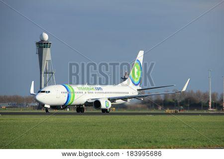 Amsterdam the Netherlands - April 7th 2017: PH-HSI Transavia Boeing 737-800 takeoff from Polderbaan runway Amsterdam Airport Schiphol