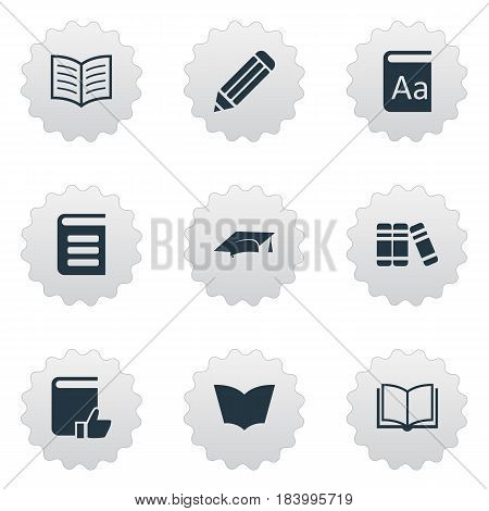 Vector Illustration Set Of Simple Reading Icons. Elements Encyclopedia, Academic Cap, Reading And Other Synonyms Library, Page And Graduation.