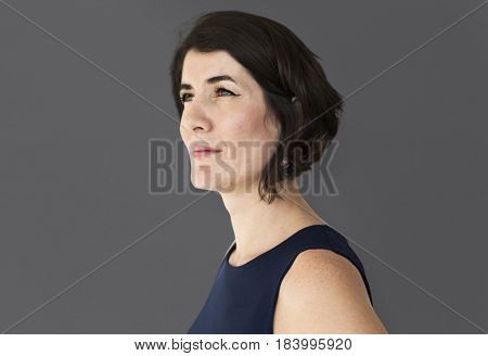 Senior adult confident woman studio portrait