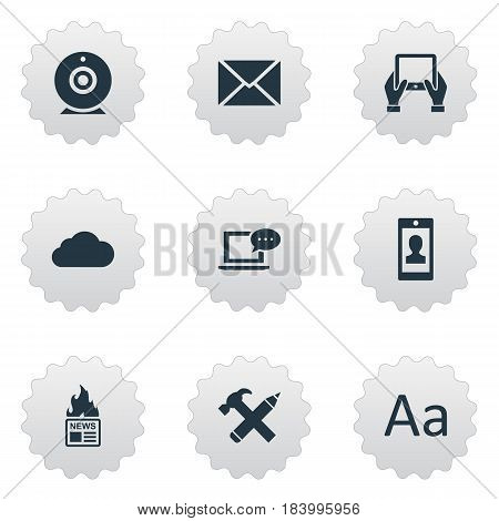 Vector Illustration Set Of Simple User Icons. Elements Post, Gazette, Cedilla And Other Synonyms Post, Message And Camera.