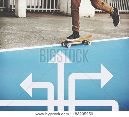 Skater boy with illustration of opportunities at turning point to be changes