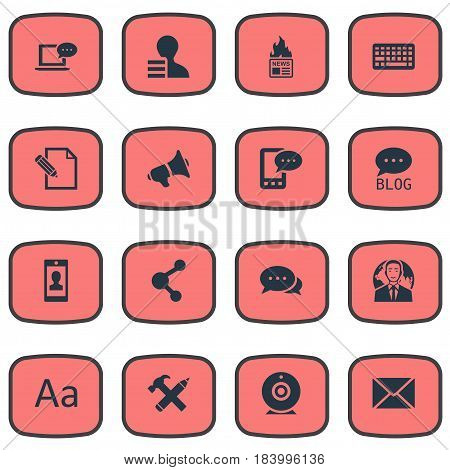 Vector Illustration Set Of Simple Blogging Icons. Elements Site, Gain, Gazette And Other Synonyms Speaker, Smartphone And Profit.
