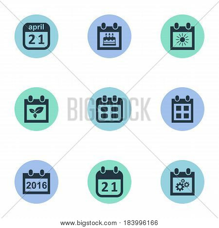 Vector Illustration Set Of Simple Calendar Icons. Elements 2016 Calendar, Event, Summer Calendar And Other Synonyms Gear, Birthday And Reminder.