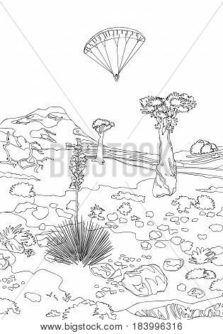 vintagetravel paragliding engraving for color. Black and white coloring pages for adults.