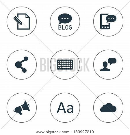 Vector Illustration Set Of Simple Newspaper Icons. Elements Site, Overcast, Man Considering And Other Synonyms Debate, Laptop And Pen.