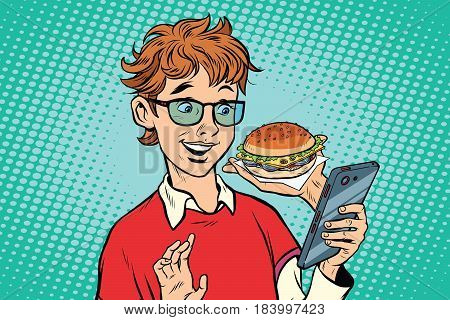Online food delivery, a teenager uses a smartphone app. Pop art retro vector illustration