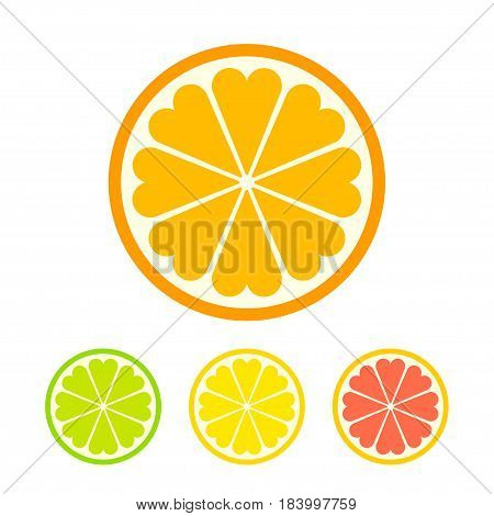 Stylized orange slice icon with heart shaped sections. Lemon lime and grapefruit color version. Simple flat vector illustration.