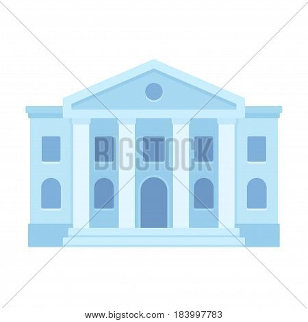 Courthouse or bank building flat icon. Classical style architecture. Simple and modern vector illustration.