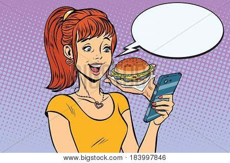 girl teenager online ordering the Burger fast food. Pop art retro vector illustration