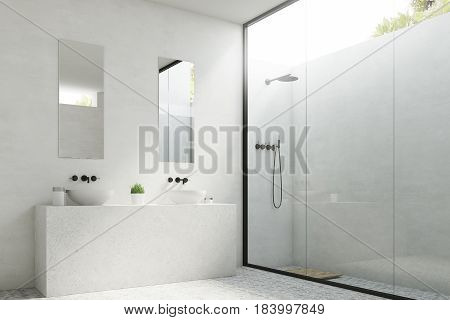 Two Bathroom Sinks With Mirrors, Side