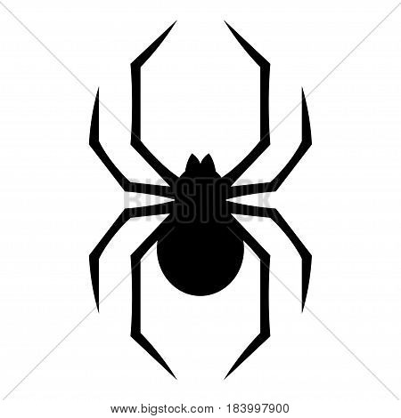 Stylized geometric spider icon isolated on white background. Creepy spider symbol vector illustration.