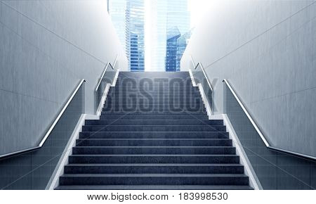Front view of a gray staircase with metal railing leading to a modern city downtown. Concept of success. 3d rendering.
