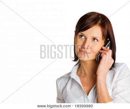 woman with phone isolated