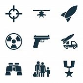 Army Icons Set. Collection Of Ordnance, Dangerous, Chopper And Other Elements. Also Includes Symbols Such As Gun, Rocket, Fire. poster