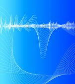 visualization of sound waves on a striking blue background poster