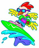 a digitally illustrated cute and colorful surfing chicken poster
