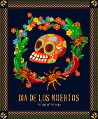Vector colorful card about Mexico. Travel poster with mexican items. Holidays banner. Day of dead skull. Dia de los muertos. Day of dead poster