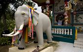 Sculpture of elephant in buddhist temple. Picture taken in Chiang Mai / Thailand 2006 poster