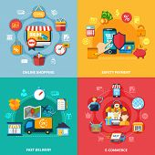 Ecommerce colored composition set with online shopping safety payment fast delivery headlines vector illustration poster