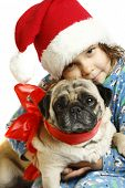girl and pug in the New Year bell Santa Claus poster