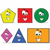 Illustration of shapes in different colors with a happy cartoon face great for kids learning basic geometry poster