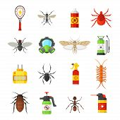Pest control vector icons isolated on white background. Household pests cockroach, termite, bug, spider, moth, mosquito and fly.  Means for the control of pests pesticide, fumigation, bug spray. poster