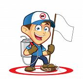 Clipart picture of an exterminator or pest control cartoon character holding flag poster